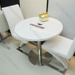 Solid Surface Round Food Court Tables Chairs