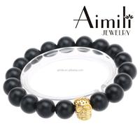 SK205 Gold Men's Skull Bracelets Wholesale, Skull Beads Bracelets 10mm Black Agate Beads