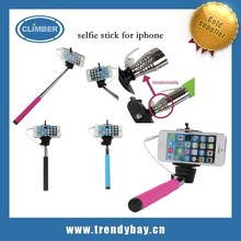 Convenient Wired selfie stick for iphone Built-in Shutter Extendable + Mount Holder