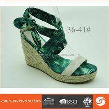 2015 elegance sex wedge heel ladies shoes closure with tie a knot