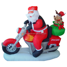 160cm polyeater santa riding motorbike Christmas inflatable ,reinder air blown decoration