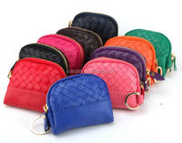 Online Wholesale Elegant Lady PU Leather Woven Round Coin Purse (LCHWP25)