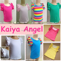 2015 new fashion girls tops,baby blank tank tops with ruffle