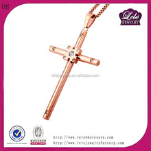 Wholesale 316L stainless steel cross pendant with CZ stone for sale