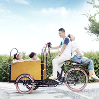 CE Holland bakfiets family 3 wheel electric cargo tricycle bike with cabin box for shopping