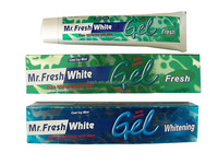 new Mr. fresh white extra whitening with mint gel toothpaste cool icy mint, fresh breath ,Max protection with calcium bifluoride