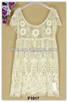 Short sleeve cotton crochet lace latest fashion elegant beautiful frocks dress design made in China