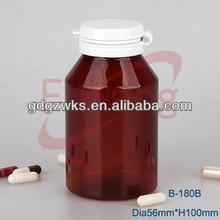 round 180ml medicine amber plastic PET bottle with tear off cap