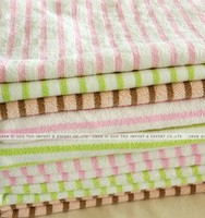 Warp knitted double-sided color bar children's bath towel