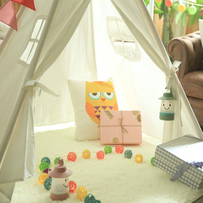 Classic Solid White Four Poles Two Windows Style Indian Kids Teepee Tent Great Gift for Children' Birthday, Christmas