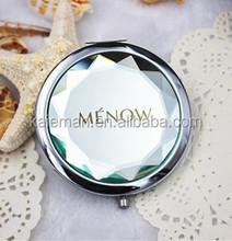 Fashion gem crystal folding pocket mirror circle double faced portable makeup mirror