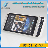 3800mAh External Power Bank Battery Case for HTC One M7 With Stand Clip