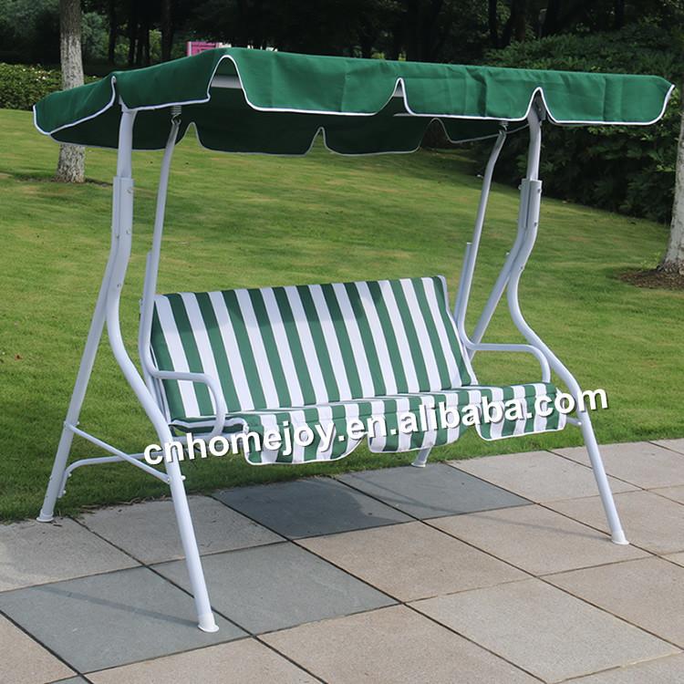 Modern Patio Garden Swing Chair Cushioned 3 Seat Steel