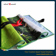 Sublimation printed 350gsm waffle weave be your branding golf towel