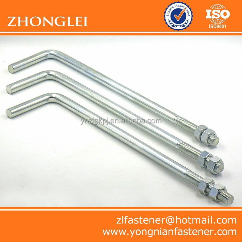 Right Angle Bolt : Zinc plated carbon steel right angle l shaped anchor bolt