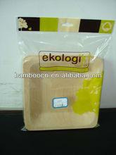 bambù usa e getta piatto quadrato