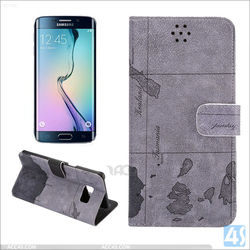 Map Pattern Printed PU leather cell phone cases for Samsung Galaxy S6 Edge plus