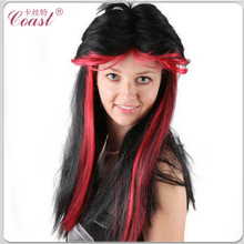 long black with red highlight synthetic wig factory under $5
