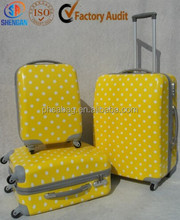 yellow ABS+PC holiday luggage case travel suitcase with trolley