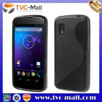 S Shape TPU Skin Case for LG Google Nexus 4 E960 Mako - Black
