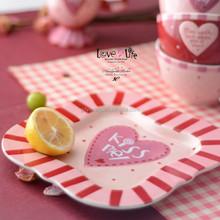 Ceramic plate and mug set, love and life hand paiting plates