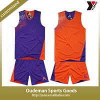 2015 wholeselling logo printed reversible basketball jersey
