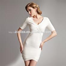 fábrica de prendas de vestir de blanco por la noche vestido de manga corta nuevo modelo de vestidos de vestidos