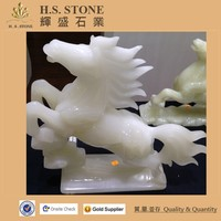 stone horse statue bronze jumping horse sculpture natural white onyx lively horse