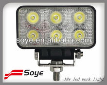 updated 4''18w Rectangle LED Working Lamp, led spot light, led driving light for 4x4/bumper/fire engine