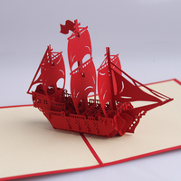 Custom Design 3D Art Paper Sailing Boat Greeting Gift pop up cards