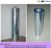 rigid plastic clear pvc film roll for folding box or bending