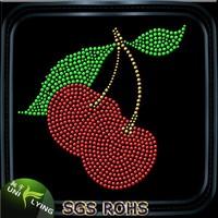 Sweet Cherry Wholesale Iron on Rhinestone Appliques for Garment