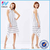 Womens Summer Dresses 2015 Casual White and Black Striped Chiffon Sleeveless Vestido Halter Dresses