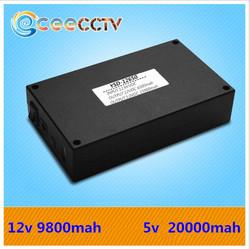 Rechargeable 12 Volt Lithium ion Battery 12v 9800mAh /5v 20000mah battery with 12v battery charger