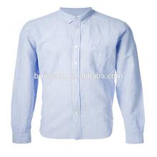 De algodón para hombre/spandex de la solapa de la camisa de manga larga camisa de rayas
