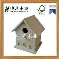 FSC Repurposed wood laser engraved 5 star unfinished decoractive birdhouse mini bird house wholesale