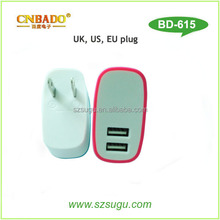 2015 nice design US/EU/UK 3.1A dual usb wall charger for i phone 6
