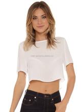 custom ladies crop top plain white wholesale