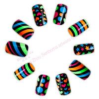 Summer colorful nail tips designer press on nails