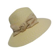 Wholesale Crushable Girls Paper Straw Hats With Fabric Bowknot