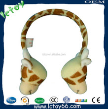 Fashional cute stuffed animal shape kids warm earmuff headphone