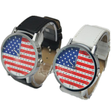 hot sale American USA flag Nation big face women casual quartz watch