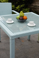 funky color stacking chair and table, rattan wicker cafe dining furniture