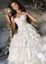 2014 New Fashion JH8105 Silk Chiffon Ruffle A-line Backless Sweetheart Strapless Draped Wedding Dress