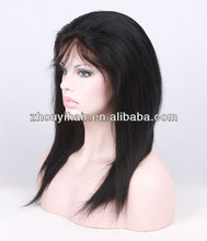 high quality natural straight human hair full lace wig full hand tied wigs made in china
