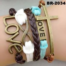 Fashion mens leather bracelet,latest handmade charm bracelet wholesale,friendship lucky charm leather bracelet