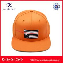 Wholesale Custom Blank Orange Colour 5 Panel Adjustable Snapback Cap