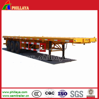 3 axle flatbed semi-trailer truck trailer to transport ISO container for sale