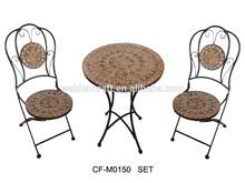 nuevo diseño de metal mosaico de piedra al aire libre muebles de mesa y una silla para el jardín