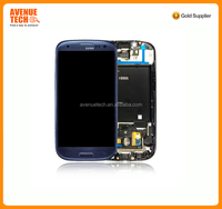 high quality For Blue Samsung Galaxy i9300 S3 Siii LCD Digitizer Touch Screen Display Frame